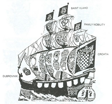 Dubrovnik galleon with Croatian coat of arms