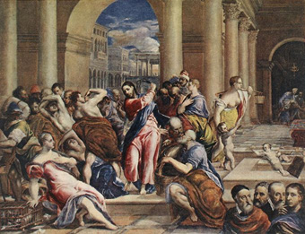 Expelling merchants from the temple, El Greco (Klovic with Tizian, Michelangelo and Rafael at the bottom left), The Minneapolis Institute of Arts