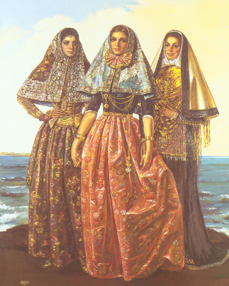 Mallorca, Menorca, and Eivissa, in national costumes of Balearic islands