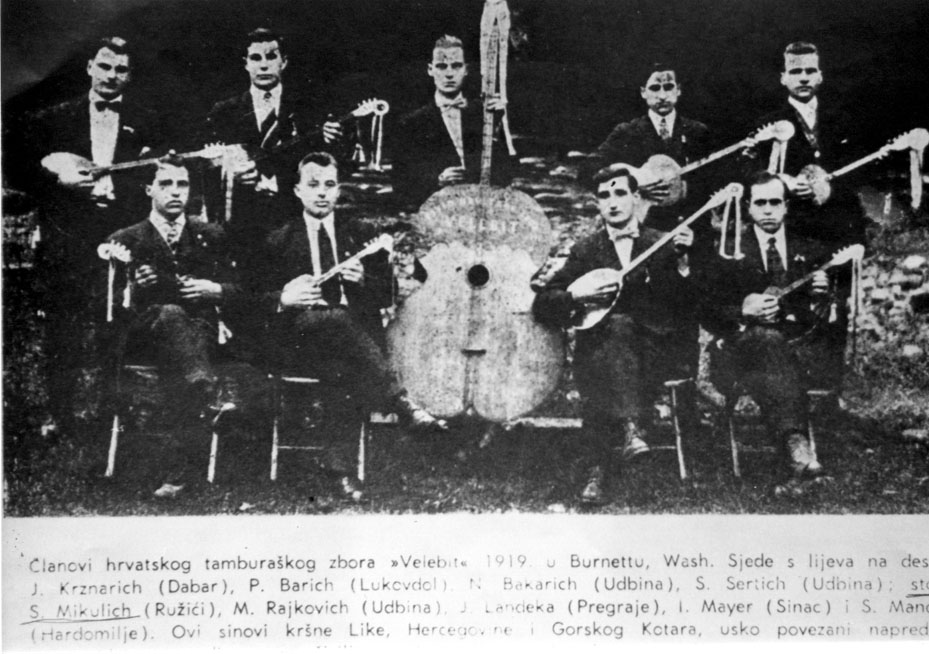 "Tamburitza orchestra ""Velebit"" from Croatia in the USA, 1919 (note a left handed player)"