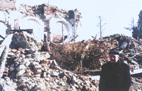 The Lipik Catholic church  after the Greater Serbian destruction in 1991