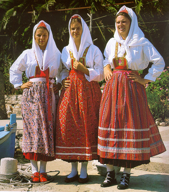 Women of Mljet in festive costumes