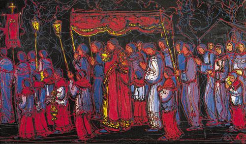 Josip Botteri Dini, noćna procesija, detalj, 1990.