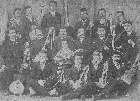 Croats in Punta Arenas, Chile, with their tamburitzas (photo from Lj. Antic, Hrvati u J. Americi, Zagreb, 1991)