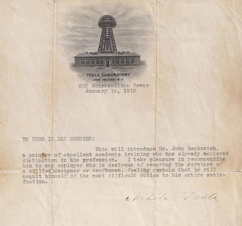 Recommendation letter by Nikola Tesla for Ivan Benković